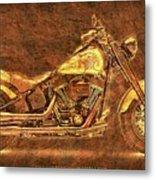 Harley Davidson Classic Bike, Original Golden Art Print For Man Cave Metal Print