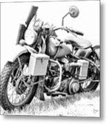 Harley Davidson Military Motorcycle Bw Metal Print