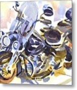 Motorcycle In Watercolor Metal Print