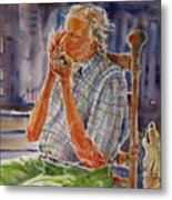 Harmonica Player And A Howler Metal Print