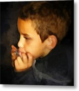 Harmonica Player Metal Print