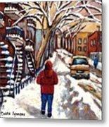Winter Walk After The Snowfall Best Montreal Street Scenes Paintings Canadian Artist Paysage Quebec Metal Print