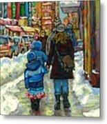 Exceptional Canadian Artist Winter Scene Paintings Downtown Montreal Achetez Scenes De Quebec  Metal Print