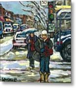 Best Canadian Winter Scene Paintings Original Montreal Art Achetez Scenes De Quebec Cspandau Metal Print