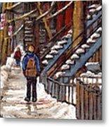 Canadian Art Winter Streets Original Paintings Verdun Montreal Quebec Scenes Achetez Les Meilleurs Metal Print