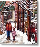 Canadian Winter Scene Paintings Original Art Verdun Montreal Achetez Scenes De Rue Quebec C Spandau  Metal Print