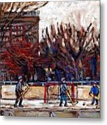 Paysages De Quebec Petits Formats A Vendre Hockey Rink Paintings Psc Original Montreal Street Scenes Metal Print