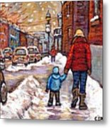 Original Montreal Street Scene Paintings For Sale Winter Walk After The Snowfall Best Canadian Art Metal Print