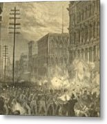 Harpers Sixth Regiment Fighting Railroad Strikers Metal Print