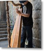 Harpist Street Musician, Barcelona, Spain Metal Print