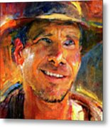 Harrison Ford Indiana Jones Portrait 3 Metal Print