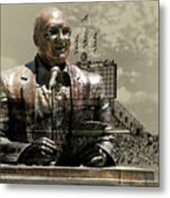 Harry Caray Statue With Historic Wrigley Scoreboard In Heirloom Metal Print