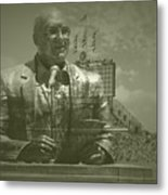 Harry Caray Statue With Historic Wrigley Scoreboard Metal Print