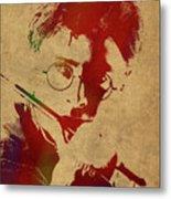 Harry Potter Watercolor Portrait Metal Print
