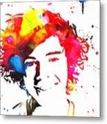 Harry Styles Paint Splatter Metal Print