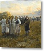 Harvest Festival By Alfred Wierusz-kowalski 1849-1915 Metal Print