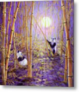 Harvest Moon Pandas  Metal Print