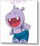 Harvey Hippo Go For It Lt Metal Print