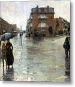 Hassam: Rainy Boston, 1885 Metal Print