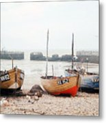 Hastings England Beached Fishing Boats Metal Print