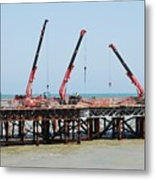 Hastings Pier, England Metal Print