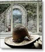 Hat In Window Metal Print