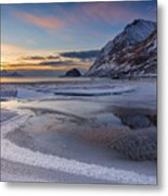 Haukland Sunset Metal Print