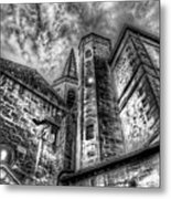Haunted Church In Black And White Metal Print