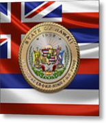 Hawaii Great Seal Over State Flag Metal Print