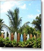 Hawaii Surfboard Fence Metal Print