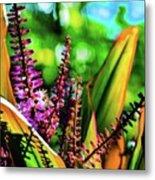 Hawaii Ti Leaf Plant And Flowers Metal Print