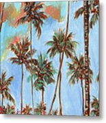 Hawaiian Cottage With Pink And Red Tropical Flowers Metal Print
