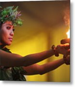 Hawaiian Dancer And Firepots Metal Print