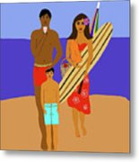 Hawaiian Family Beach Scene Metal Print