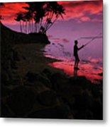Hawaiian Fishing On Halama Beach At Sunset Metal Print
