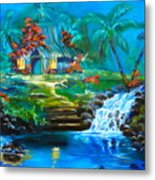Hawaiian Hut And Waterfalls Metal Print