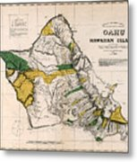 Hawaiian  Islands Map 1881 Metal Print