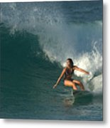 Hawaiian Surfer Girl Bottom Turn Metal Print