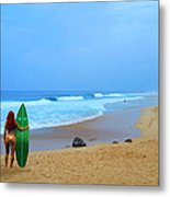Hawaiian Surfer Girl Metal Print