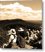 Hawk Mountain In Sepia Metal Print