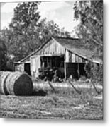 Hay And The Old Barn - Bw Metal Print