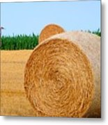 Hay Bale With Crane Metal Print