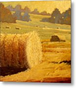 Hay Bales Of Bordeaux Metal Print