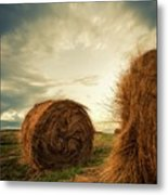 Hay Bales On Farm Field Metal Print