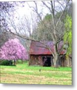 Hay Barn And A Touch Of Pink Metal Print