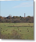 Peaceful Hay Field Metal Print