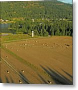 Hay Rolls And A Silo Metal Print