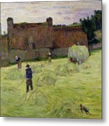 Haymaking In Brittany Metal Print
