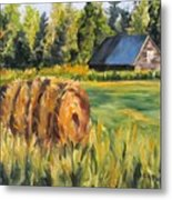 Hayroll And Barn Metal Print