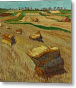 Haystacks In Moravia Metal Print